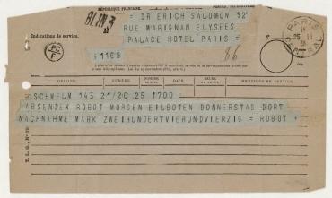 Telegramm von der Firma Otto Berning an Erich Salomon zum Kauf einer Robot