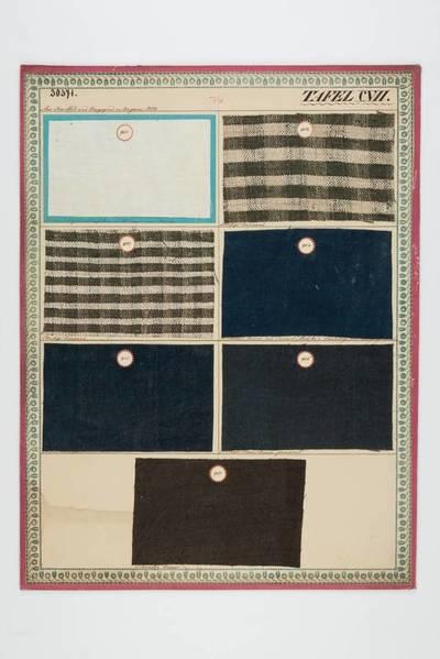 Leinwand, gebleicht auf Samuel Mitsko's neuer Bleiche; Streifige Leinwand; Lichtblaue Leinwand aus Samuel Mitsko's Färberey, wie die folgenden; Blaue Leinwand; Ordinäre blaue Leinwand, gewässert; Schwarze Leinwand