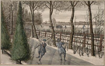 Zwei Schlittschuhläufer auf einem zugefrorenen Schlossgraben mit Blick auf die Vecht