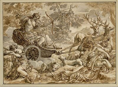Diana gelangt auf der Fahrt in ihrem von zwei Hirschen gezogenen Prachtwagen zu vier am Waldboden ruhenden Nymphen; in der Mitte ein schlafender und ein die Göttin begrüßender Jagdhund
