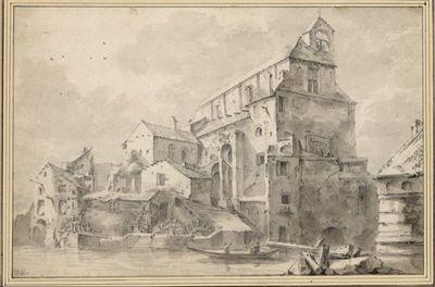 Tieberinsel mit Kirche und Wassermühlen (S. Bartolomeo in isola Tavernia/ het Tolhuys ann der Tiber)
