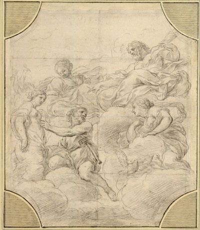 Pygmalion fleht zu Jupiter, er möge seiner Statue das Leben schenken; rechts neben Pygmalion Venus auf Wolken kniend; links von Jupiter, der schon seine Rechte gewährend ausstreckt, Juno