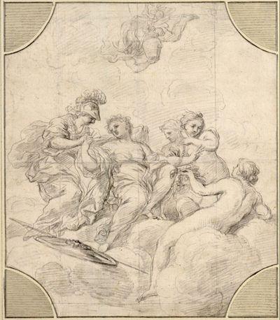 Auf Wolken eine weibliche Gestalt, der Minerva einen Mantel und die drei Grazien Blumengewinde und Schmuck anlegen; von oben schwebt Hermes mit einer Vase herab
