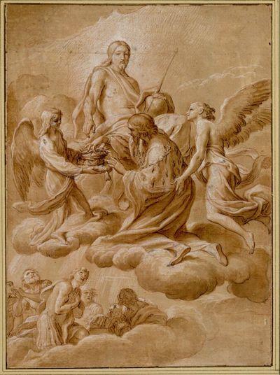 Der heilige Ludwig von Frankreich vor dem Heiland auf Wolken kniend und eine Dornenkrone ergreifend; links unten andere Heilige auf Wolken, die nach oben schauen