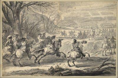 Angriff der französichen Kavallerie in der Schlacht von Kassel am 10. April 1677