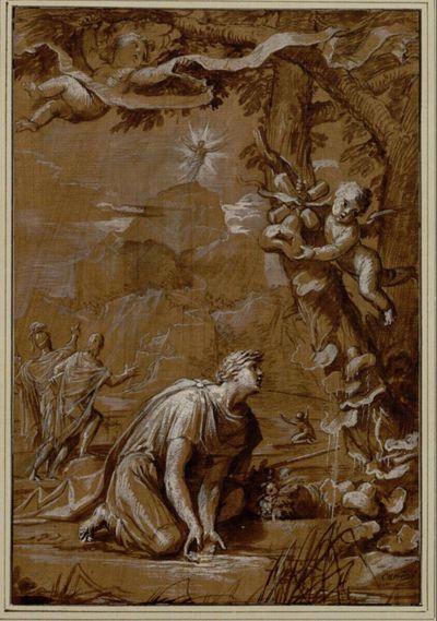 Allegorie auf die Accademia dei Intronati in Siena. (Ein bekränzter Mann kniet in seichtem Wasser und benetzt einen Kürbis; auf dem Felsen im Hintergrund leuchtende Gestalt)