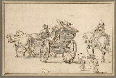 Zwei Damen in einem Reisewagen und ein Reiter, alle von hinten gesehen