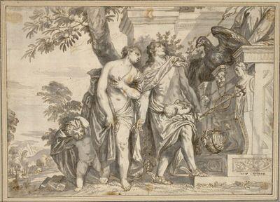 Venus und Merkur mit einem Säugling vor einem Jupitermonument