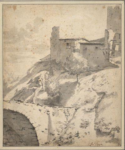 Berghang mit Steinbrücke und Häusern an der Ruine eines Kastells