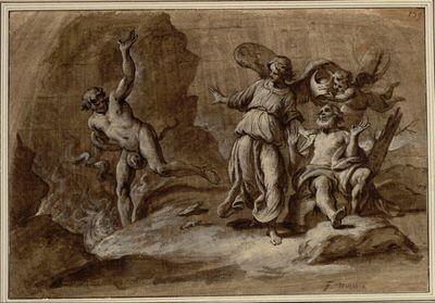 Allegorie. (Ein Greis sitzt rechts mit ausgebreiteten Armen; ein Putto hält über ihn eine Kopfbedeckung, die an einen Hohepriester erinnert; ein Engel, die Linke auf des Alten Schulter, weist den Teufel in den Abgrund)