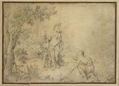 Antikisch drapierte Jägerin (Diana?) - mit Hund, Mohrenknaben und Hirten