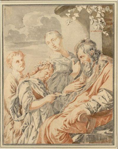 Sitzender Alter, einem als Flora kostümierten Mädchen lauschend - dahinter ein weiteres Kind und eine junge Frau