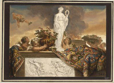 Putti hinter einer Brüstung mit Flora-Statuette und Apoll-und-Daphne-Relief