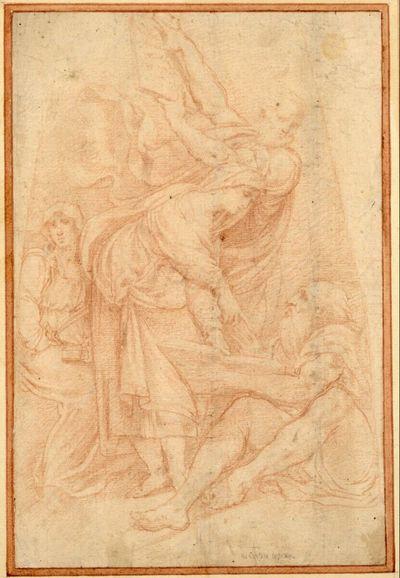 Zwei Propheten und zwei Sibyllen. (Eine Sibylle neigt sich nach rechts zu dem am Boden sitzenden Bärtigen, der ein aufgeschlagenes Buch hält; der andere Prophet steht hinter der Sibylle und hält eine Tafel hoch; die zweite Sibylle sitzt links hinten.)