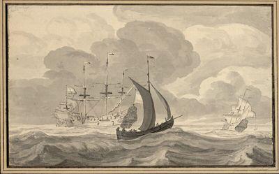 Ein Fischerboot und zwei Schiffe auf bewegter See