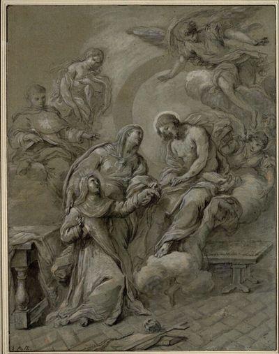 Vermählung der heiligen Katharina von Siena mit Christus. (Links der heilige Thomas von Aquin und eine weibliche Heilige; rechts einige Engel)