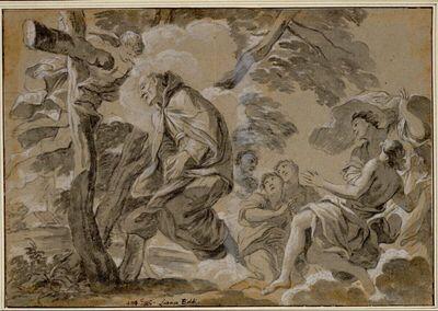 Der heilige Petrus von Alcantara wird in die Luft gehoben, während er vor einem aus einem Baum gebildeten Kreuz betet; daneben schweben Engel
