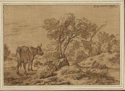 Landschaft mit Gehöft, vorne eine stehende Kuh und drei liegende Schafe