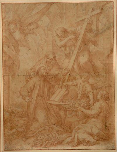 Die Religion diktiert dem heiligen Cajetan die Regeln und weist auf den kreuztragenden Erlöser; die Allegorie der Kirchenlehre überreicht ihm Gefäße; links hinter dem Heiligen liegt die Häresie am Boden