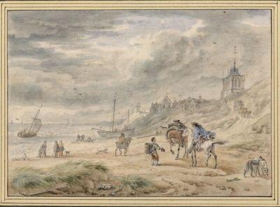 Am Strand von Egmont, zwei Reiter im Gespräch mit einem Bettler