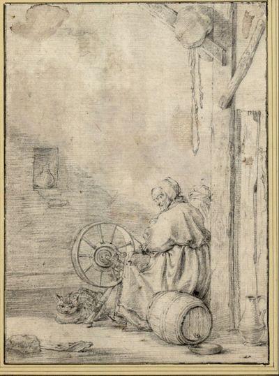 Alte Frau mit Katze beim Spinnrad
