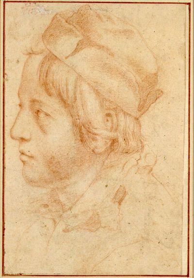 Jünglingskopf mit Mütze im Profil nach links