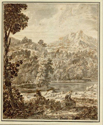 Arkadische Landschaft mit einem baumreichen Ufer und einem Gebirge im Hintergrund