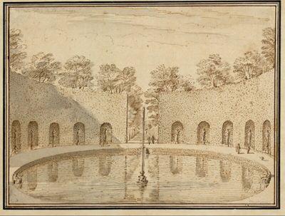 Rundes Bassin mit Fontäne, von Hecken und Statuen umgeben, im Park des Prinzen von Oranien