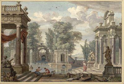 Schloßpark mit Groten-Pavillon, Kaskaden und Bassin mit Fontäne, vorne flankierende Säulen-Loggias und Statuen