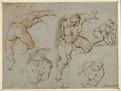 Studienblatt mit zwei die Posaune blasenden Engeln und drei anderen Figuren