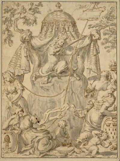 Thronender Löwe mit Königsinsignien und weibliche Stadtallegorien (Augsburg, Köln?)
