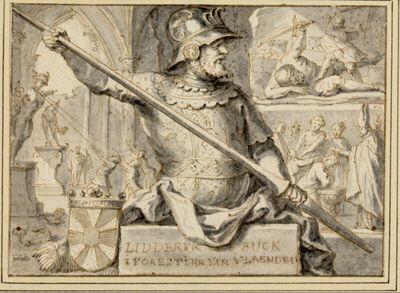 Halbfiguriger Ritters auf einem Podest, drei Hintergrundszenen: Zerstörung heidnischer Götterstatuen, David und Goliath, Taufszene