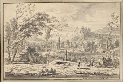 Arkadische Landschaft mit Wanderer und Rastenden bei antiken Trümmern