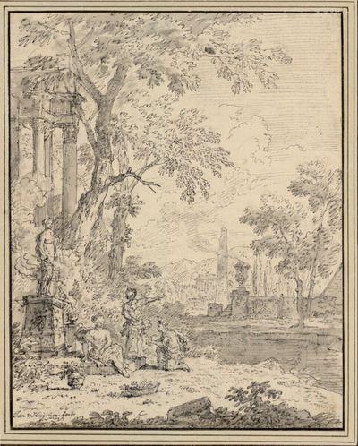 Arkadische Landschaft mit drei Figuren vor einer Götterstatue, in der Ferne ein Obelisk