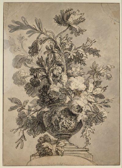 Blumenstillleben - Vase mit Puttenrelief in leichter Unteransicht