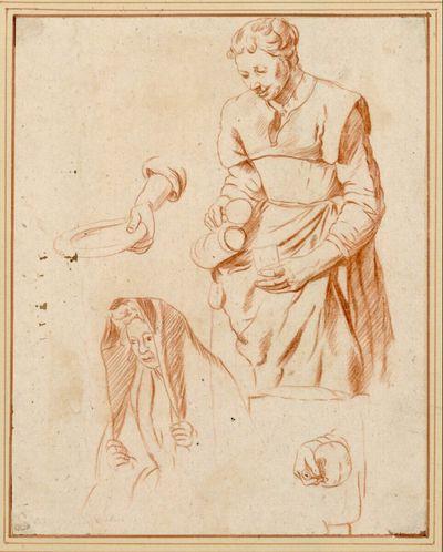 Studienblatt mit Magd, die ein Trinkglas füllt, Halbfigur einer Frau mit Kopftuch und zwei Händestudien