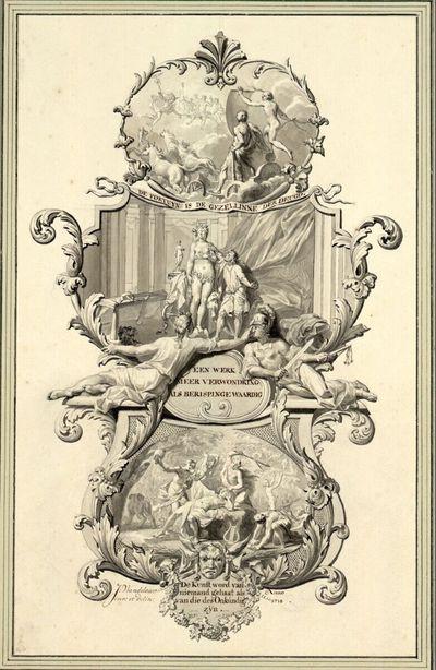 Hohe Titelkartusche mit Herkules und Fortuna, Pygmalion und dem Tod des Orpheus