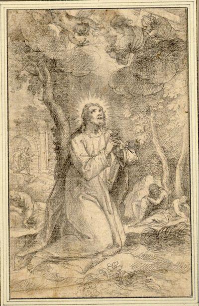 Christus im Garten Gethsemane gegen rechts kniend, blickt zu dem Engel empor, der im geöffneten Himmel mit dem Kelch und den Marterwerkzeugen erscheint; hinten schlafen die Jünger unter Bäumen