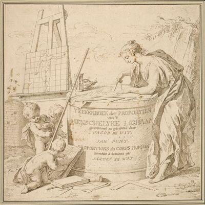 Allegorischer Titelblattentwurf für Jacob de Witts Teekenboek der Proportien ...