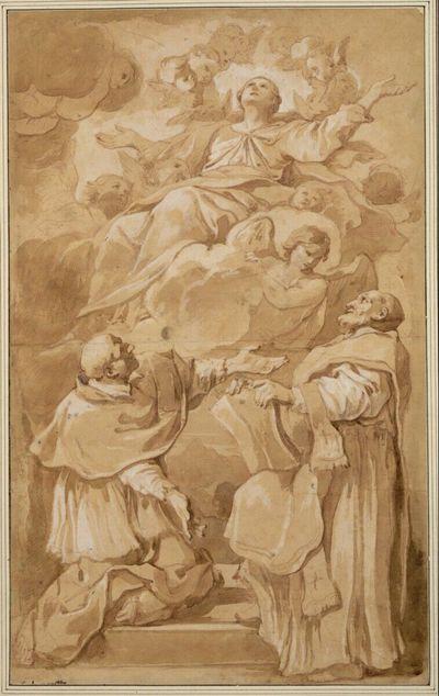 Die Madonna in der Engelglorie schwebend, die Hände ausgebreitet, blickt zum Himmel auf; unten der kniende Karl Borromäus und der stehende Filippo Neri