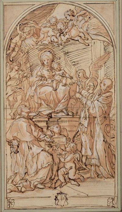 Die Madonna mit den Heiligen Karl Borromäus und Ignatius von Loyola; unten Andeutung des Rahmens