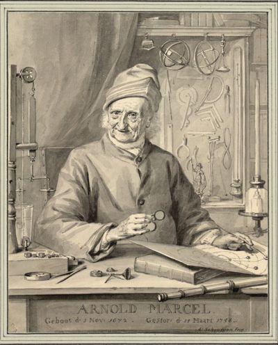 Arnold Marcel in hohem Alter, umgeben von physikalischen Instrumenten