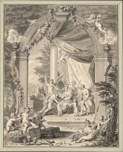 Junges Brautpaar unter einem Torbogen, umgeben von Genien und Amoretten mit allegorischen Attributen (Stichvorlage)