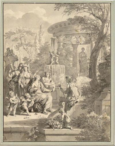 Sitzende junge Braut, umgeben von Genien und Amoretten, weiter hinten ein Rundtempel mit Juno-Statue (Stichvorlage)