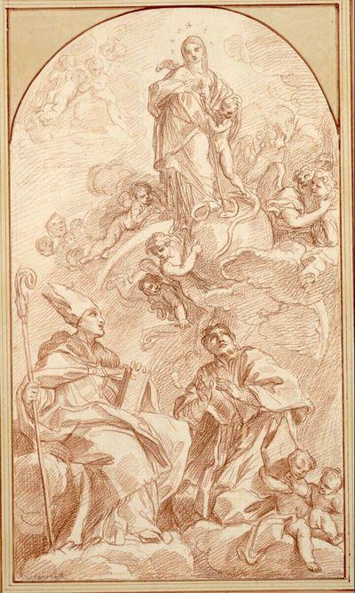 Maria steht auf der Erdkugel, von Engelputten umgeben; neben ihr steht das Christuskind, das die Schlange mit dem Kreuzesstab niederstößt; rechts und links Heilige und unten drei Figuren auf Wolken