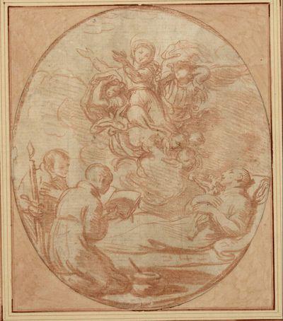 Die Madonna beschützt einen sterbenden Heiligen (Stanislaus Kostka ?); links knien zwei Chorknaben zum Sterbenden nach rechts hin, der eine mit einer Kerze, der andere mit einem Buch in der Hand (stehendes Oval)
