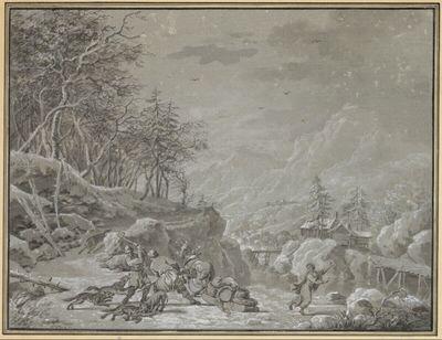 Winterlandschaft mit dem Kampf zweier Männer gegen angreifende Wölfe