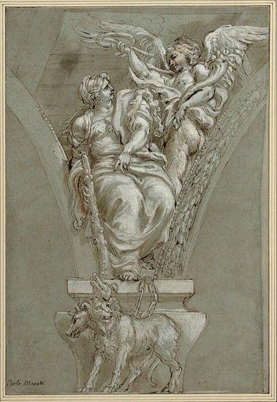 Allegorie. (Die Tugend mit Löwenfell und Keule wird von der personifizierten Ehre in Flügelgestalt bekrönt, die, ein Füllhorn in der Linken, mit der Rechten Kranz und Palmzweig über sie hält; unten der Cerberus)