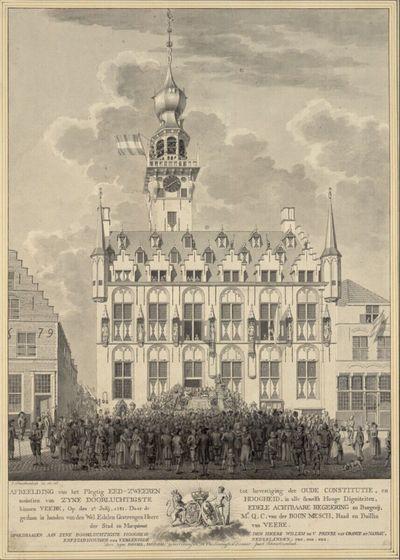 Vereidigung des Statthalters Willem V., Prinz von Oranien und Nassau, vor dem Rathaus von Veere 1787