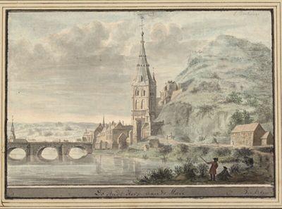 Ansicht der Brücke und Kathedrale von Hoey (Huy) an der Maas